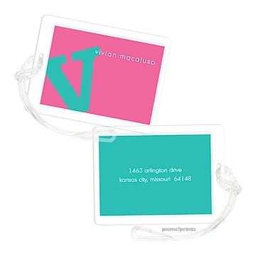 Alphabet Turquoise on Bubblegum Luggage Tag