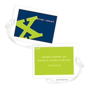 Alphabet Chartreuse on Navy Luggage Tag