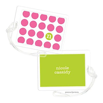On The Spot Bubblegum/Chartreuse Luggage Tag