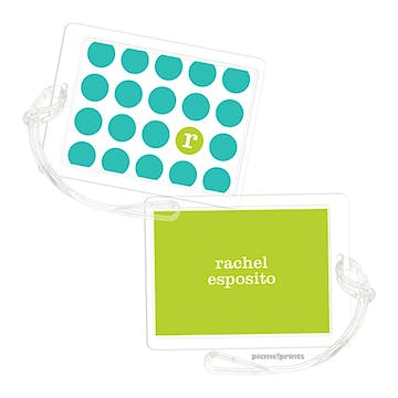 On The Spot Turquoise/Chartreuse Luggage Tag