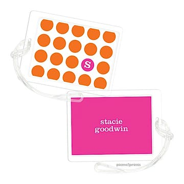 On The Spot Tangerine/Hot Pink Luggage Tag