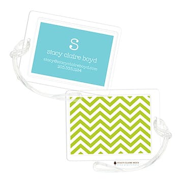 Chevron Stripe - Green Luggage Tag