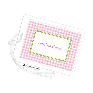 Gleeful Gingham - Pink Luggage Tag