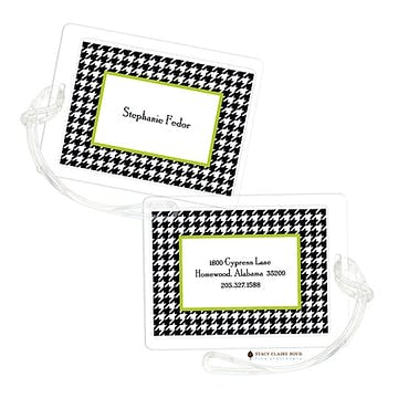 Hip Houndstooth - Green Luggage Tag