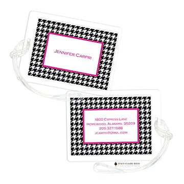 Hip Houndstooth - Pink Luggage Tag