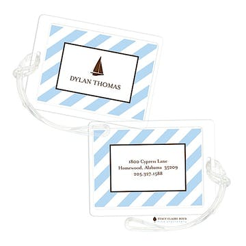 Blue Diagonal Stripes Luggage Tag