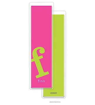 Alphabet Tall Bookmark - Chartreuse on Hot Pink