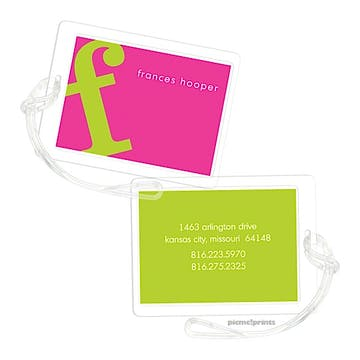 Alphabet Chartreuse on Hot Pink Luggage Tag