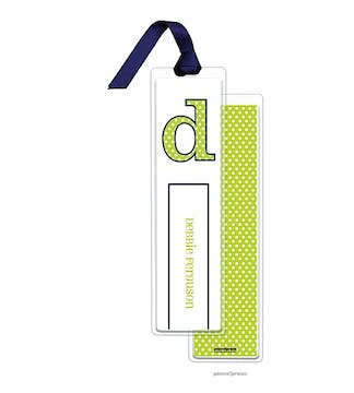 Big Dots Chartreuse Tall Bookmark with Navy Ribbon