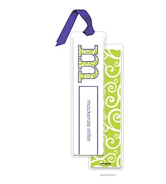 Swirls Chartreuse Tall Bookmark with Light Purple Ribbon