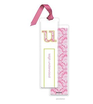 Damask Bubblegum Tall Bookmark with Bubblegum Ribbon
