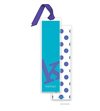 Alphabet Tall Bookmark - Cobalt on Peacock with Light Purple Ribbon