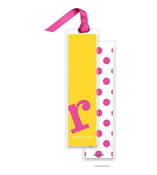Alphabet Tall Bookmark - Hot Pink on Sunshine with Hot Pink Ribbon