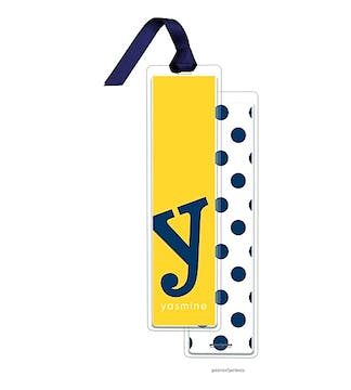 Alphabet Tall Bookmark - Navy on Sunshine with Navy Ribbon