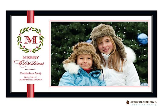 Festive Family Initial Flat Photo Card
