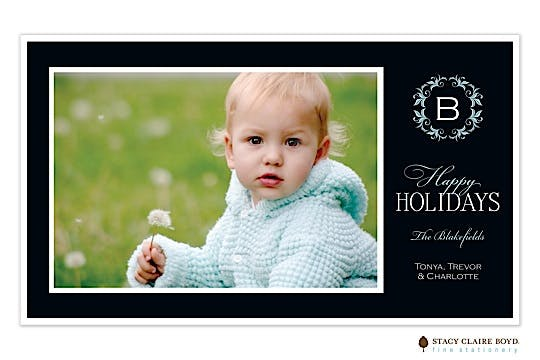 Regal Wreath-Black Flat Photo Card