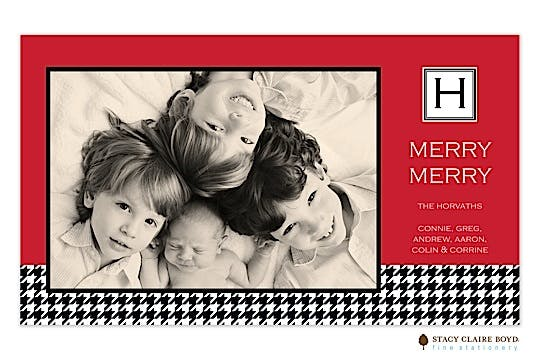 Merry Houndstooth Flat Photo Card
