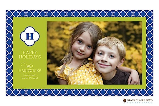 Quatrefoil Holiday Print & Apply Flat Photo Card