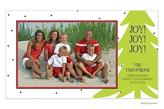 big tree white Holiday Flat Photo Card