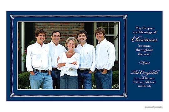 Elegant Border Navy Flat Photo Card
