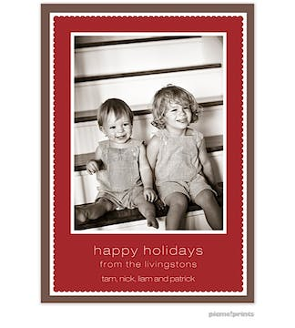 scalloped frame crimson Holiday Flat Photo Card