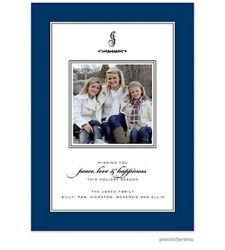 lovely navy Holiday Flat Photo Card