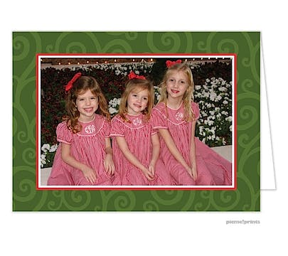 joyful swirls evergreen Holiday Card