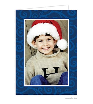 joyful swirls navy Holiday Card