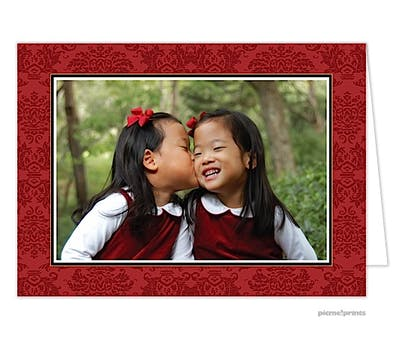 classic damask crimson Holiday Card
