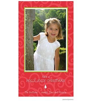 joyful swirls poppy Holiday Flat Photo Card-Print & Apply