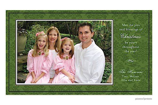 classic damask evergreen Holiday Flat Photo Card-Print & Apply