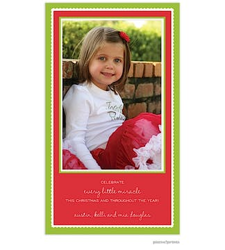 holiday scallops poppy Holiday Flat Photo Card-Print & Apply