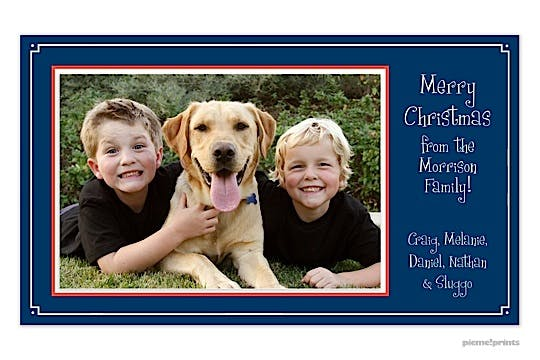 simple frame navy Holiday Flat Photo Card-Print & Apply