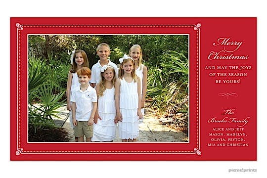 Elegant Border Red print & Apply Flat Photo Card