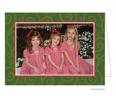 joyful swirls evergreen Holiday Card-Print & Apply