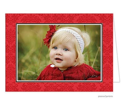 classic damask poppy Holiday Card-Print & Apply