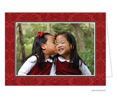 classic damask crimson Holiday Card-Print & Apply