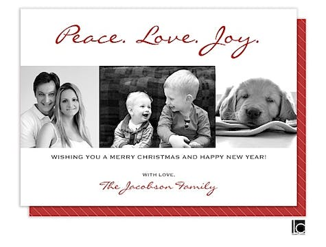 Peace love and joy red Holiday Flat Photo Card