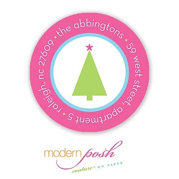 Bright Dot Holiday Round Address Label