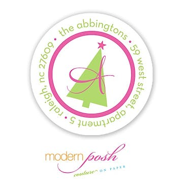 Mod Holiday Tree 2 Inch Address Label