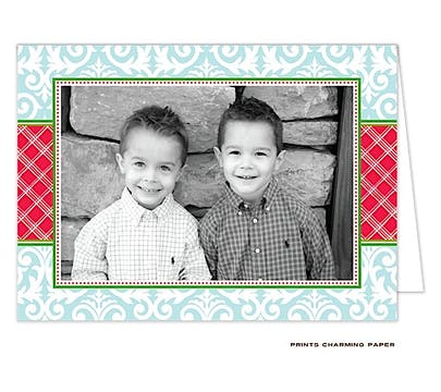 Damask and Plaid - Blue and Red Folded Photo Card