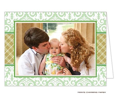 Damask and Plaid - Green and Gold Folded Photo Card