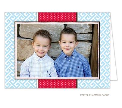 Greek Key - Blue and Red Folded Photo Card
