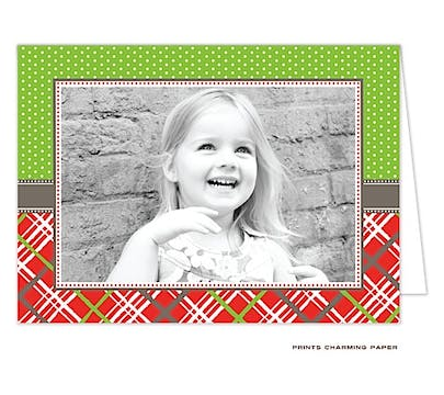 Dots and Plaid - Green and Red Folded Photo Card