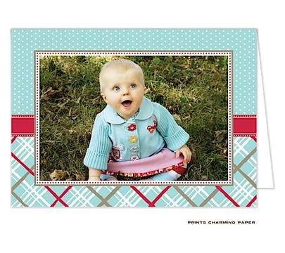 Dots and Plaid - Blue and Red Folded Photo Card