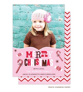 Chevron Candy Canes Pink and Red Flat Photo Card