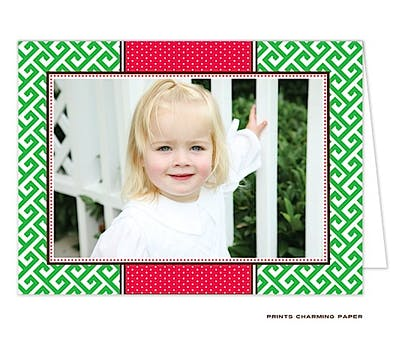 Greek Key - Green and Red Print & Apply Folded Photo Card