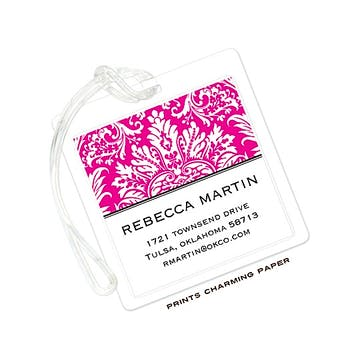Hot Pink Damask ID Tag