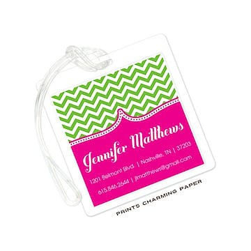 Green Chevron on Hot Pink ID Tag