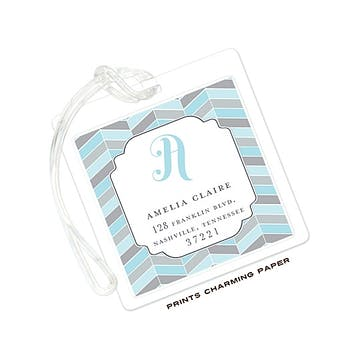 Blue and Grey Chevron Mosaic ID Tag